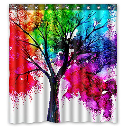 Art Colorful Rainbow Tree Waterproof Shower Curtain 66 x 72 inches ()