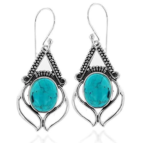 925 Oxidized Sterling Silver Sky Blue Turquoise Gemstone Oval Eye Dangle Earrings