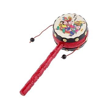Holzspielzeug Schütteltrommel Drehtrommel Musikinstrument Baby Kind Neu
