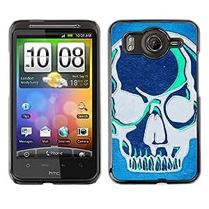 Shell-Star Art & Design plastique dur Coque de protection rigide pour Cas Case pour HTC Desire HD / G10 / inspire 4G( Teal Blue Artistic Skull Grey Art Graffiti )