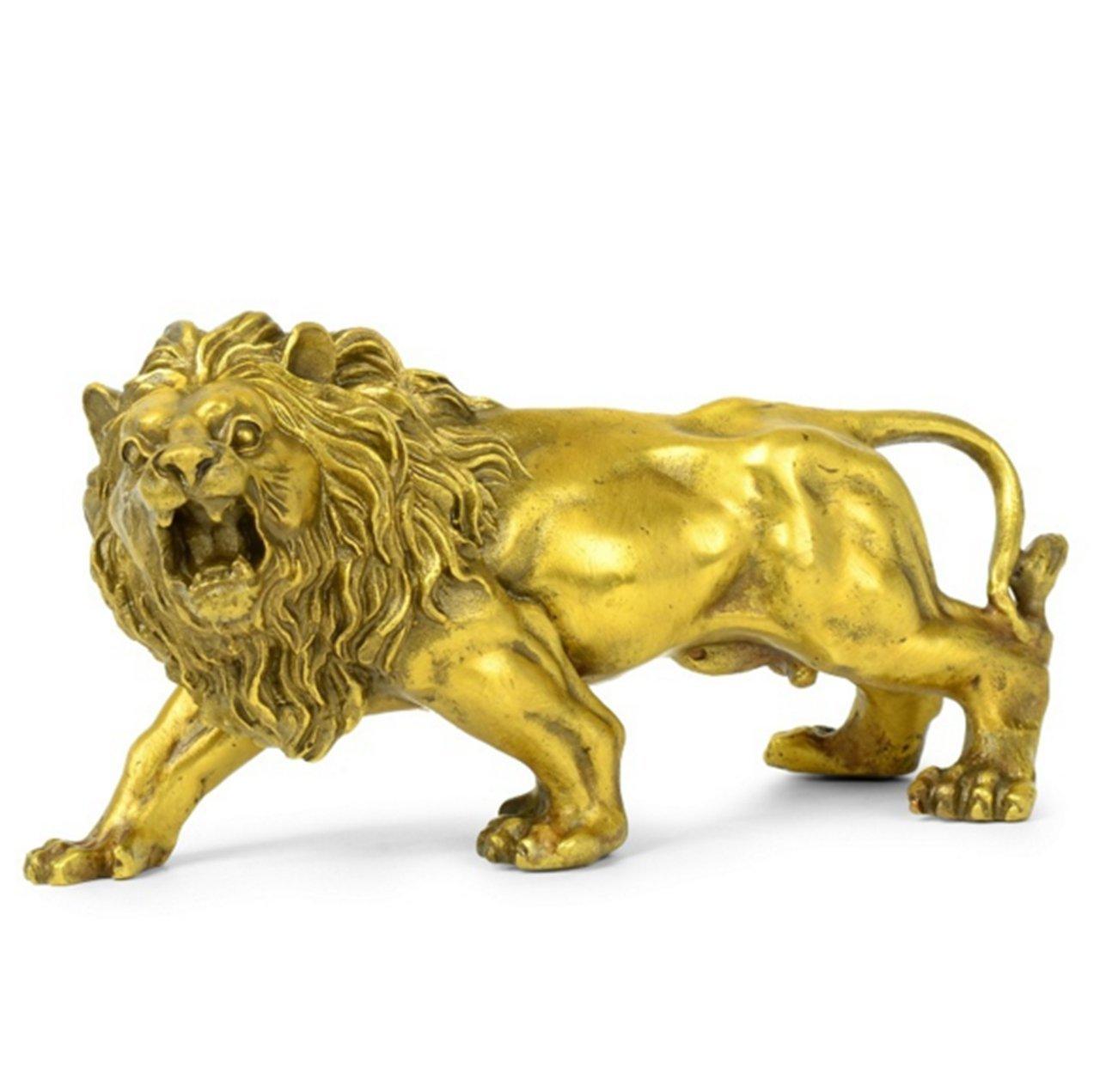 獅子 ライオン 置物 銅 狛犬 開運 おきもの 置き物 小物 運気 風水 オブジェ 動物 インテリア 飾り 銅像 玄関 寝室 ブロンズ 赤い糸ブレスレットが付け B075LMGZ5Q