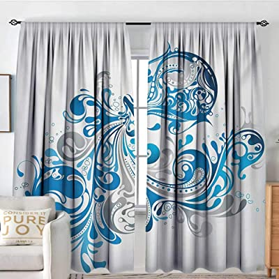 "NUOMANAN Rod Pocket Drapes and Curtain Zodiac Aquarius,Bucket with Ornamental Swirled Lines Artistic Scroll Horoscope,Silver Grey Cobalt Blue,Customized Curtains 54""x72"": Home & Kitchen"