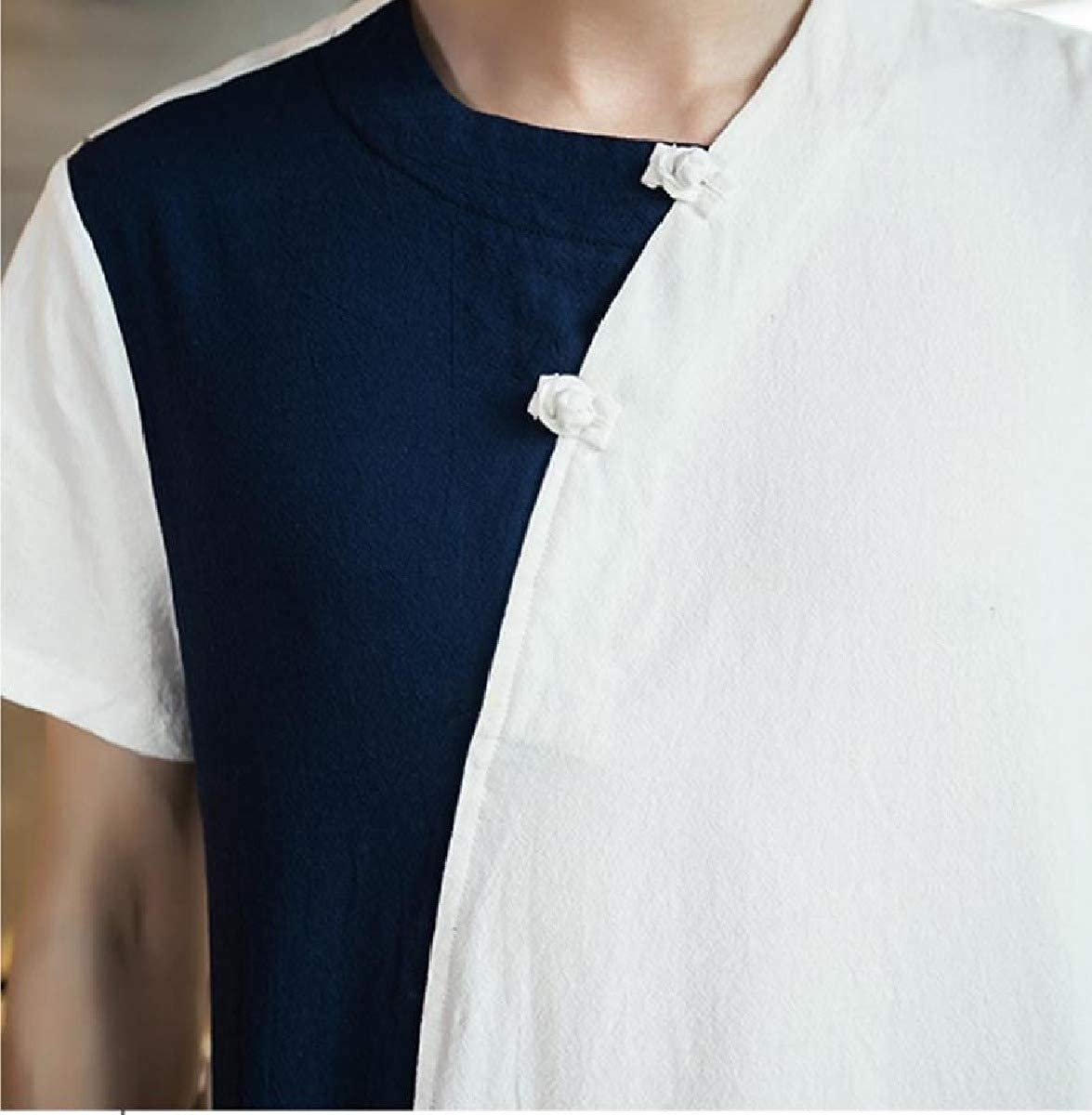 Zimaes-Men Casual Summer Contrast Chinese Style Comfort Soft Cotton Work Shirt