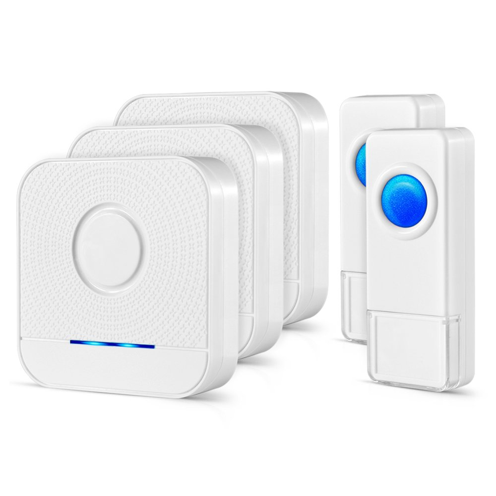 Wireless Doorbell 3 Receivers And 2 Push Buttons Ip55 Waterproof Wiring A Circuit Along With Button Chime Kit 1000 Feet Operating Led Indicator 4 Level Volume 52 Chimes Options