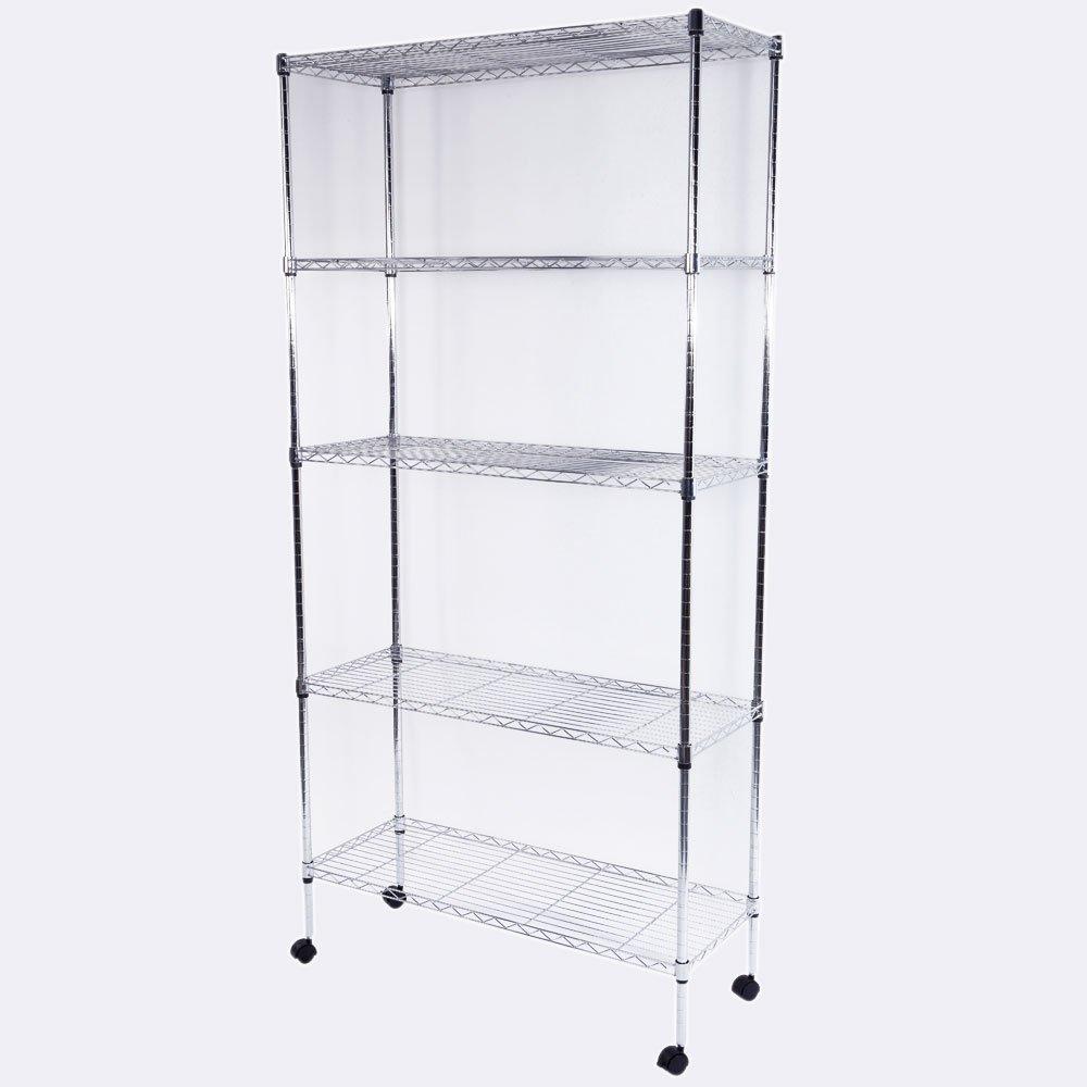 Azadx Shelving Rack, 4-Shelf 5-shelf Standing Storage Units, Iron Shelf Display for Kitchen, Bathroom, Games Room, Home, Hotel, Restaurant, Office, Garage (Silver Chrome, 5-Tier)