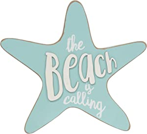 Col House Designs 35308 The Beach is Calling Wooden Starfish Sign - Nautical Decor - Beach Decorations for Home - Beach Gifts