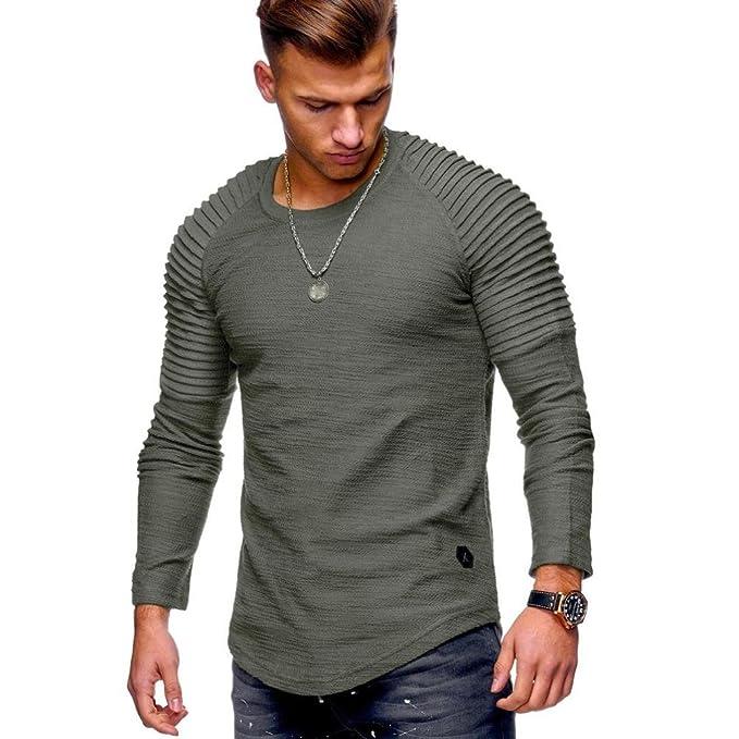the latest b8b25 c10fc Herren T-Shirts Langarm Rundhals Einfarbig, Herren Männer ...