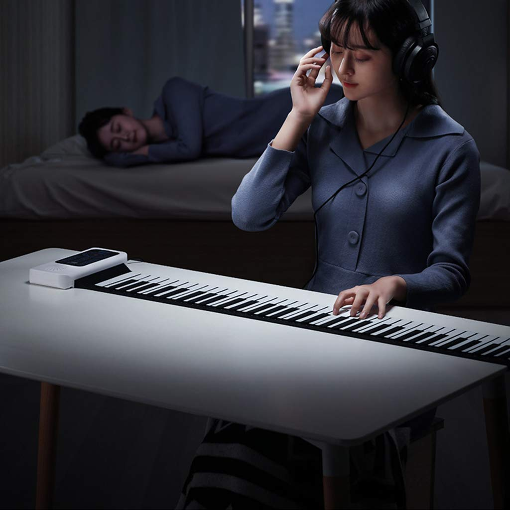 New Roll Up Piano Electronic Digital Piano 88-Key Thickened Folding Silicone Hand Roll Keyboard with LED Display Showing Multifunction, White by Anyer Piano (Image #4)