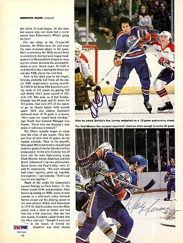 Mark Messier and Dave Lumley Signed Magazine Page Photo Oilers - PSA/DNA Authentication - NHL Hockey Memorabilia