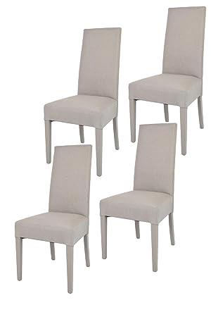Tommychairs - Set de 4 sillas Chiara para Cocina, Bar y Restaurante, con Estructura en Madera de Haya y Asiento tapizado en Tejido Color Gamuza