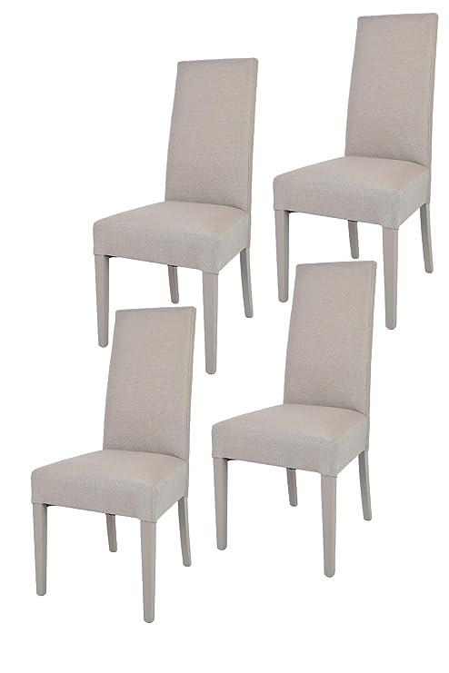 Tommychairs - 4er Set Moderne Stühle Chiara für Küche und Esszimmer,  Struktur aus lackiertem Buchenholz Farbe Gämse, Gepolstert und mit Stoff in  ...