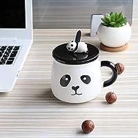 Satyam Kraft (Pack of 1) Panda Ceramic Mug with Ceramic Lid and Spoon for Diwali Gift,Christmas Gift,gift-300 ML