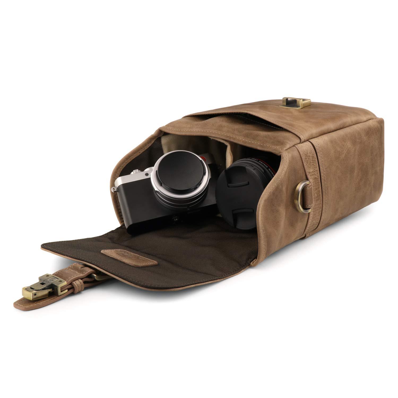 Instant and DSLR Cameras MegaGear Torres Mini Genuine Leather Camera Messenger Bag for Mirrorless
