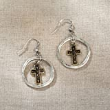 Enesco Jim Shore Jewelry Gold Cross in Hoop Earrings