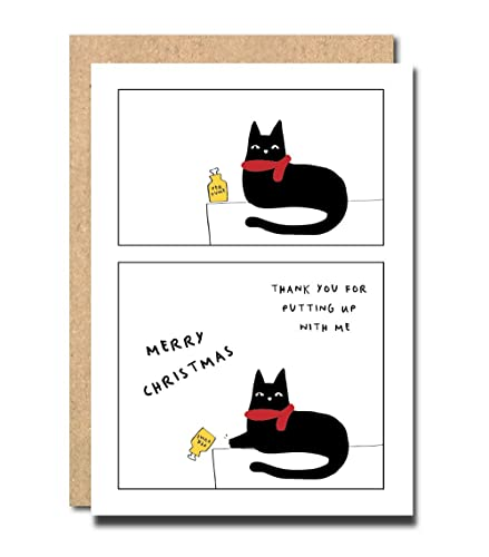 Christmas Card From The Cat Mum Mummy Dad Daddy Personalised Custom