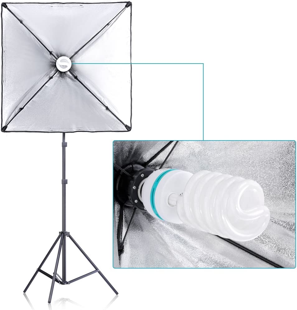 45W Dimmable LED Light Head with 2 Color Temperature Neewer 3 Packs LED Softbox Lighting Kit: 20x27 inches Softbox Light Stand Boom Arm and Sandbag for Photo Studio Portrait Video Shooting