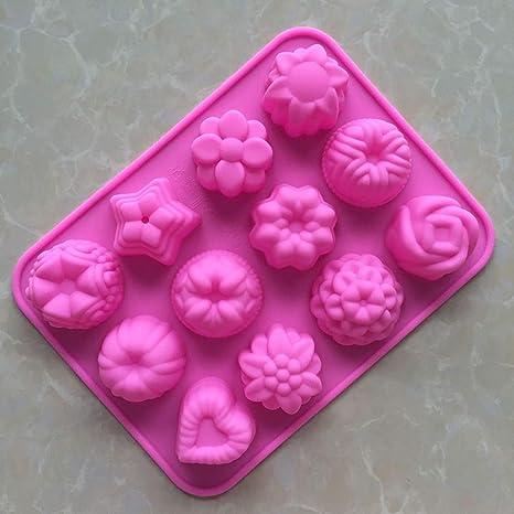 Tofree Molde para Magdalenas de Chocolate con 12 Agujeros, Molde de Silicona Hecho a Mano