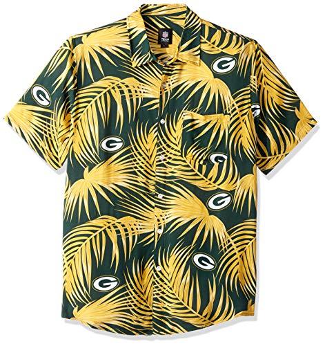 Green Bay Packers NFL Mens Hawaiian Button Up Shirt - XXL (Nfl Clothing Men)