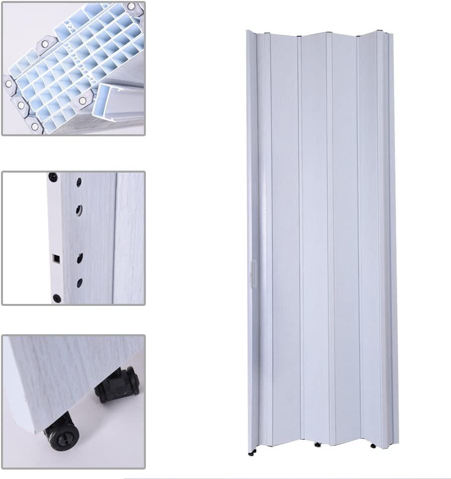 Britoniture PVC Plastic Folding Door Accordion Lockable Gloss Thickness 12mm Brown White