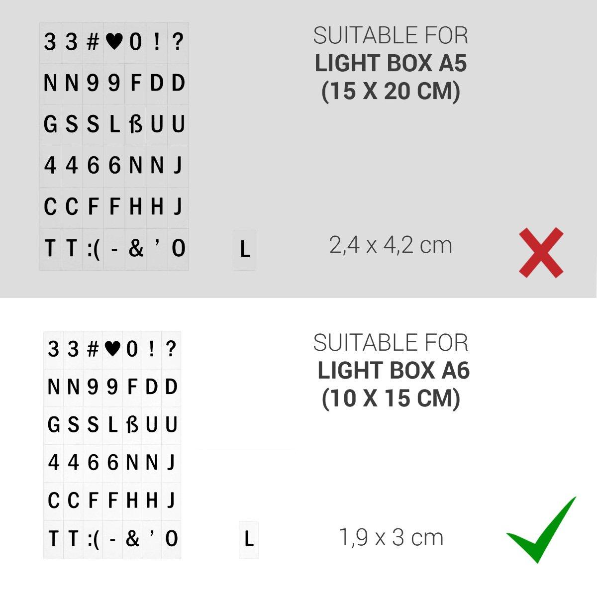kwmobile Set de Letras para Caja de luz A6-126 símbolos y números - para Caja cinematográfica - Set complementario en Negro