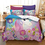 Suncloris,Cooper Girl Unicorn,Bedding Sheet Set .Included:1Duvet Cover,1Pillowcase(no Comforter inside) (Twin)