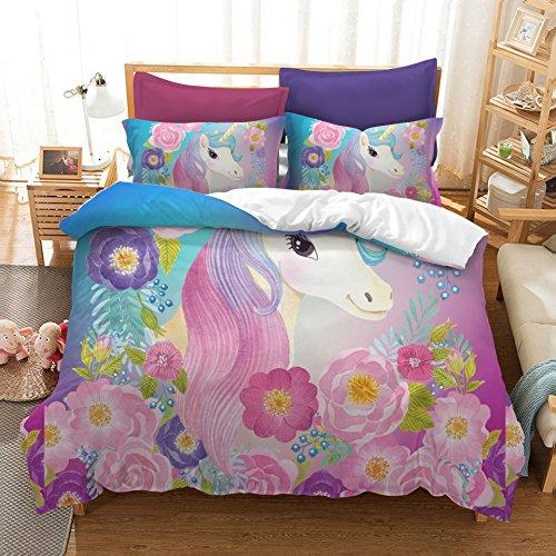 Suncloris,Cooper Girl Unicorn,Bedding Sheet Set .Included:1Duvet Cover,2Pillowcase(No Comforter Inside) (Full)