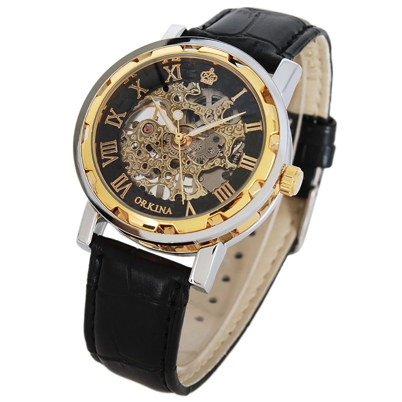 Beautiful GuTe Classic Skeleton Unisex Mechanical Wrist Watch Hand Wind Steampunk  Black Golden: Amazon.ca: Watches