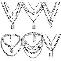 6-9 PCS Chain Necklace Egirl Men Male Emo Goth Chains Statement Lock Key 1-4 Layered Pendants Necklace for Women Teen…