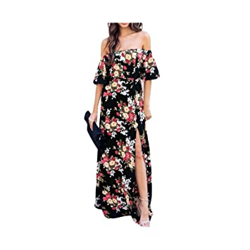 8c35e7860ee20 ... del Hombro Vestidos Mujer Verano Boho Impresas Florales Maxi Playa Vestidos  Dama Casual De Manga Corta Vestido Largo  Amazon.es  Deportes y aire libre