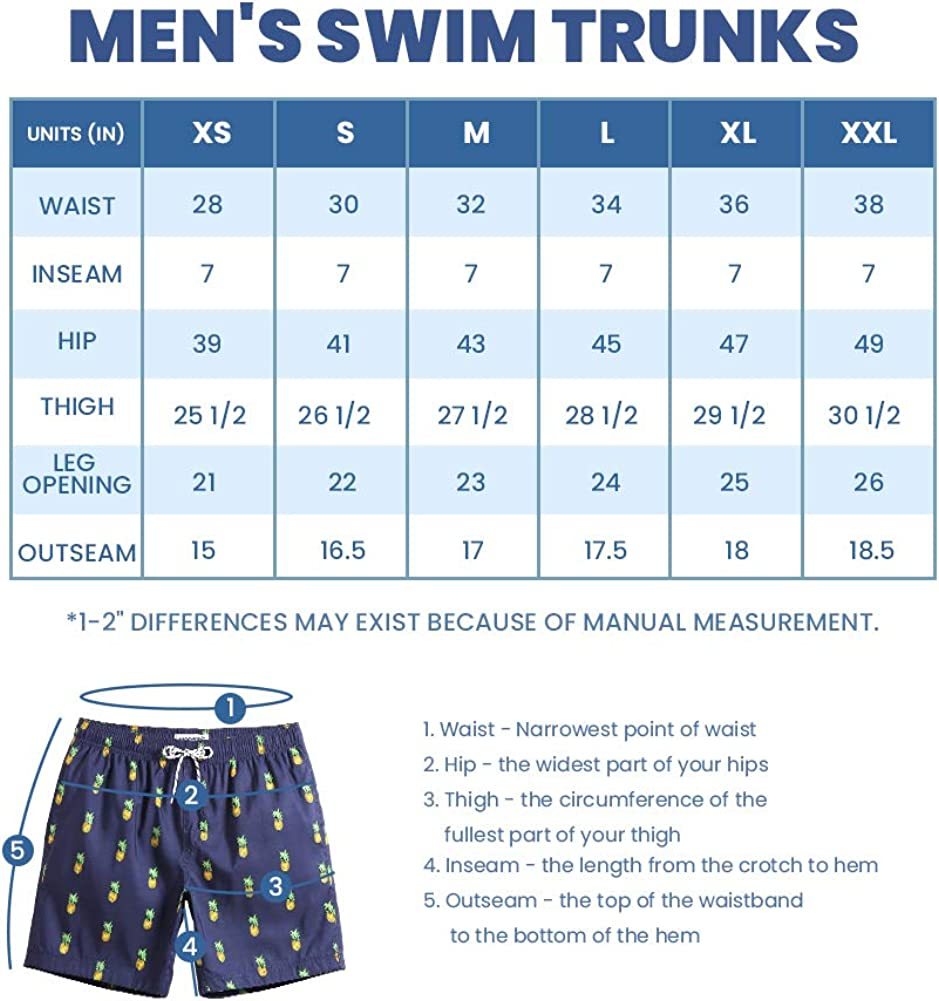 MaaMgic Mens Short Swim Trunks Quick Dry Swimming Shorts Print Bathing Suits with Mesh Lining