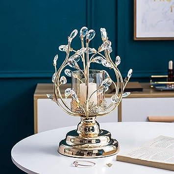 Size : 23X36.5CM chandelier en m/étal cristal chandelier cr/éatif mode romantique chambre salon d/écoration table or 2 tailles bougeoir WangQ Chandelier