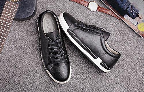Homme Baskets à Lacets Casual Basses Chaussures en Cuir Travail Business Sneakers Sport Noir Marron Gris Jaune 38-46 Noir XYzvR