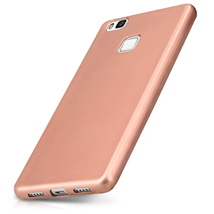 kwmobile TPU Silicone Case for Huawei P9 Lite - Soft Flexible Shock Absorbent Protective Phone Cover - Metallic Rose Gold