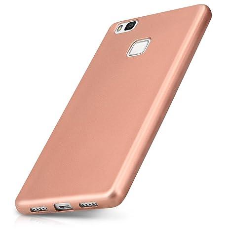 kwmobile Funda para Huawei P9 Lite - Carcasa para móvil en [TPU Silicona] - Protector [Trasero] en [Oro Rosa Metalizado]