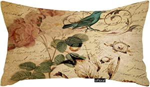oFloral Throw Pillow Cover Victorian Bird Paris French Botanical Rose Decorative Pillow Case Floral Home Decor Rectangle 12x20 Inch Cushion Cotton Linen Pillowcase