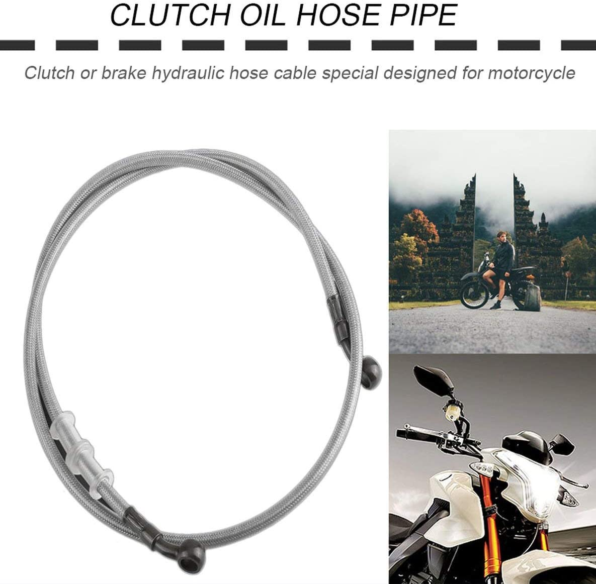 Rouku Universal-Motorrad-Bremsleitung Stahlflex Hydraulische Verst/ärkung Bremsen-Kupplungs-/Ölschlauch Line Pipe Rohr f/ür Racing Dirt Bike