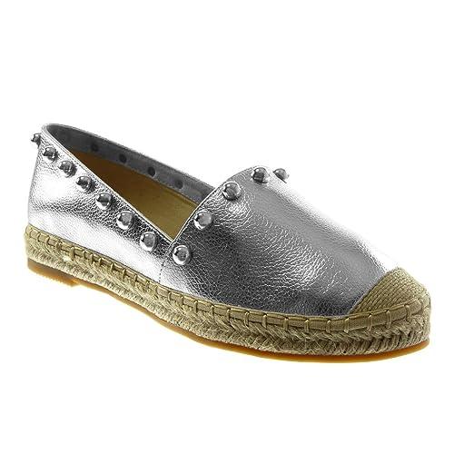 Angkorly - Zapatillas Moda Alpargatas Slip-on Mujer Tachonado Perla Cuerda Tacón Ancho 2.5 CM: Amazon.es: Zapatos y complementos