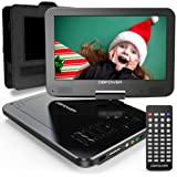 """DBPOWER 12"""" Portable DVD Player with 5-Hour Rechargeable Battery, 10"""" Swivel Display Screen and SD/ USB Port, with 1.8m Car C"""