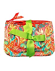Vera Bradley Cosmetic Trio Paisley in Paradise of 3 with Solid Red Lining