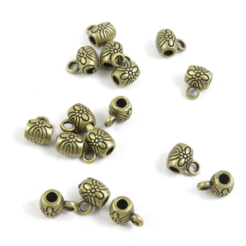 2140 PCS Beading Jewelry Making Charms Finding Jewellery Charme Antique Bronze Plated Craft Crafting H4HA3 Flower Bead Bail Cord Ends by BLUESTONE Charms (Image #1)