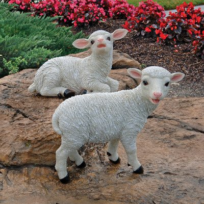 Design Toscano Yorkshire Lamb Garden Farm Animal Statues, 15 Inch, Set of Two Standing and Sitting, Polyresin, Full Color