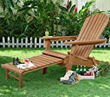 K&A Company Adirondack Chair Pull Out Outdoor Wood Foldable Ottoman Patio W Deck Furniture Garden New Reclining Folding Natural Pool Chairs Leisure