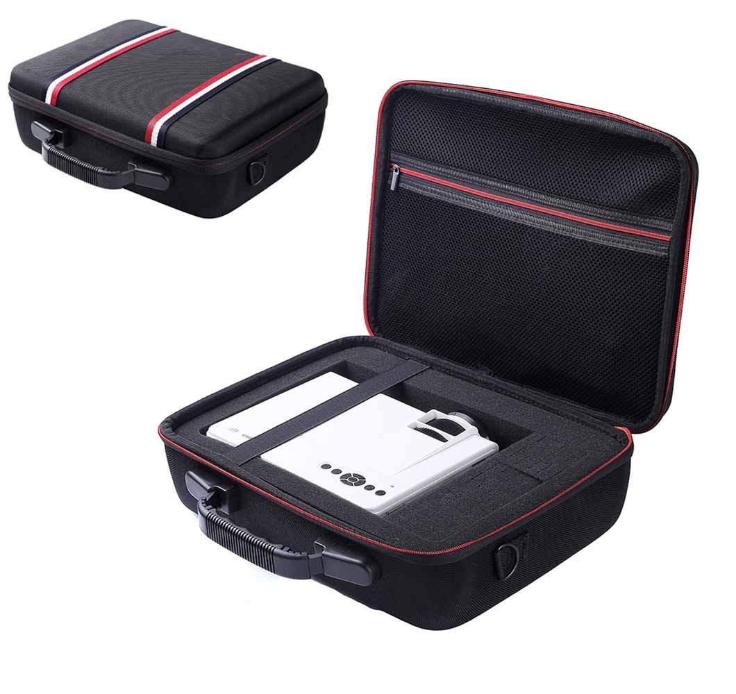 Esimen Hard Travel Case for DBPOWER T20 1500 Lumens LCD Mini Projector Multimedia Home Theater Video Projector EVA Carrying Bag (Black)