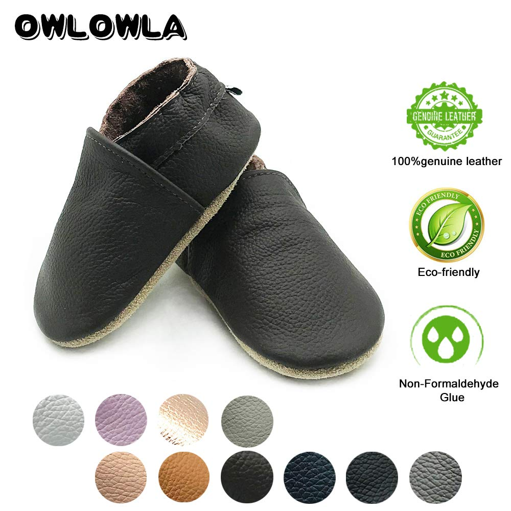 Owlowla Baby Soft Sole Leather Crib Shoes Infant Toddler Pre-Walker Shoes Boy Girl