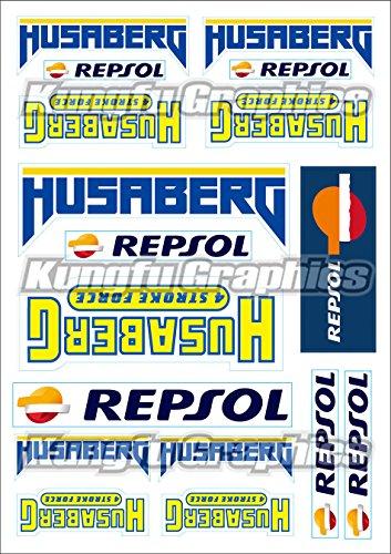 Kungfu Graphics Husaberg Repsol Micro Sponsor Logo Racing Sticker Sheet Universal (7.2x 10.2 inch), White Blue