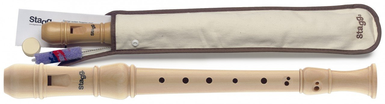 Stagg REC3-BAR/WD Soprano Recorder with Baroque Fingering, Maple
