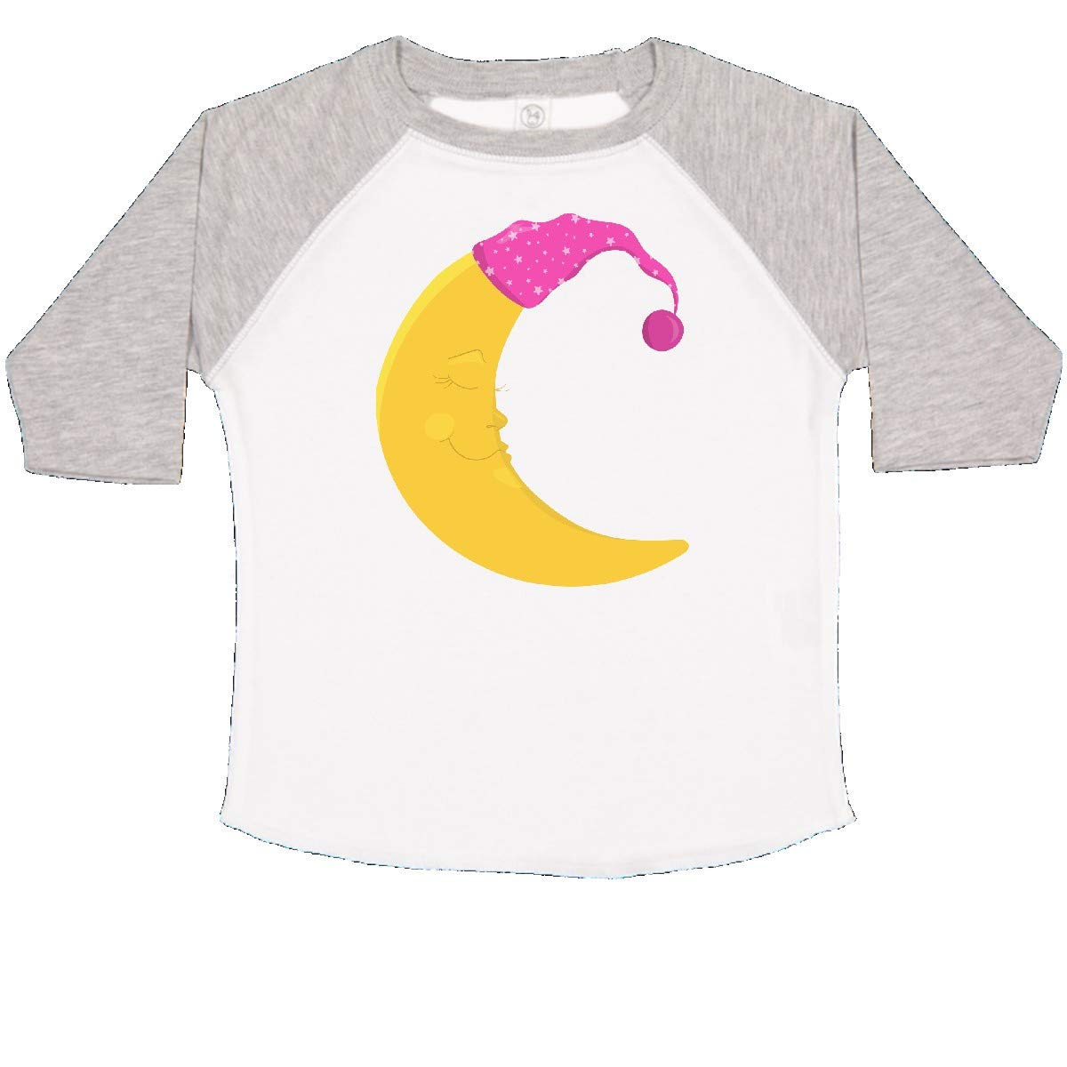 inktastic Yellow Moon with Pink Nightcap Sleeping Moon Toddler T-Shirt