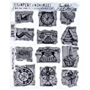 Stampers Anonymous Tim Holtz Cling Rubber Stamp Set, 7 by 8.5-Inch, Mini Blueprints No.4