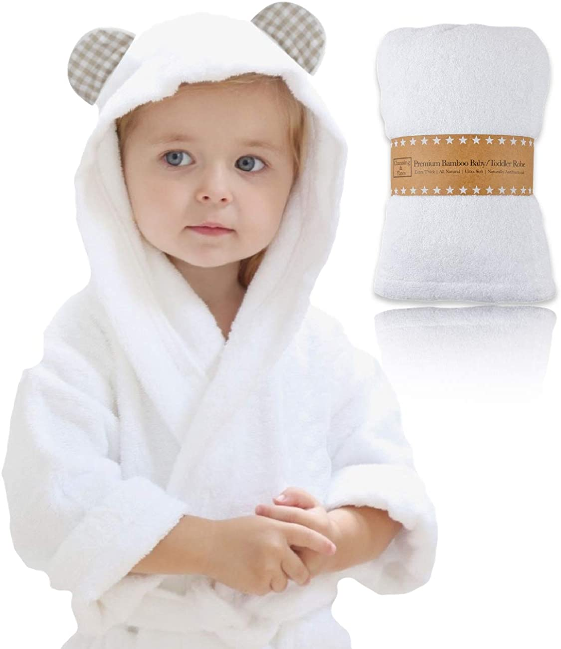 Channing & Yates - Premium Baby Robe - Toddler Robe - Organic Bamboo Hooded Bathrobe Towel - Thick & Soft (Beige): Clothing
