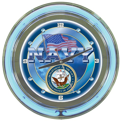 United States Navy Chrome Double Ring Neon Clock, - Discount Shop Shipping Free Poker
